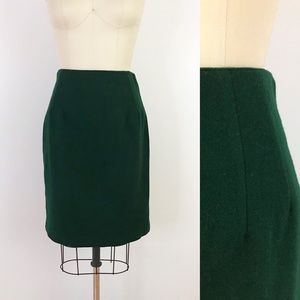 1980s Forest Green Wool Pencil Skirt Fitted N1015